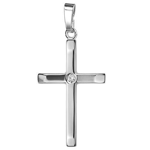 JEVELION Anhänger-Kreuz 925 Sterling-Silber mit Brilliant Silberkreuz für Damen, Herren und Kinder Kreuzanhänger Kettenanhänger + Schmuck-Etui