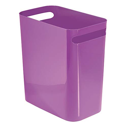 mDesign Slim Plastic Rectangular Large Trash Can Wastebasket Garbage Container Bin with Handles for Bathroom Kitchen Home Office Dorm Kids Room  12quot High ShatterResistant  Purple