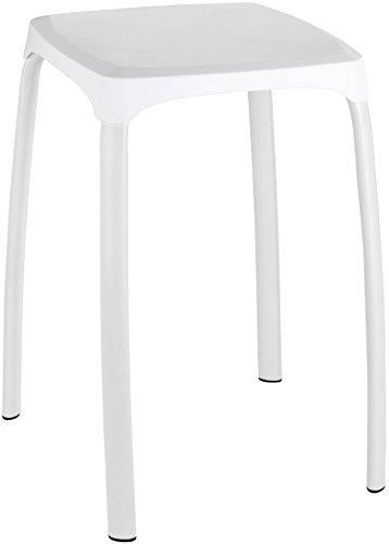Wenko Losani Taburete para Baño, Blanco, 29x29x46 cm