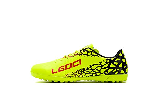 LEOCI Performance Turf Soccer Shoes - Men and Boy Soccer Shoes Indoor Soccer Cleat (2.5 D(M) US, Yellow)