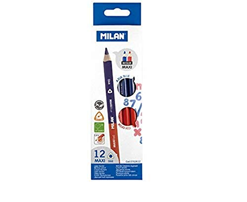 Milan Maxi - Caja con 12 lápices bicolores, color azul y rojo