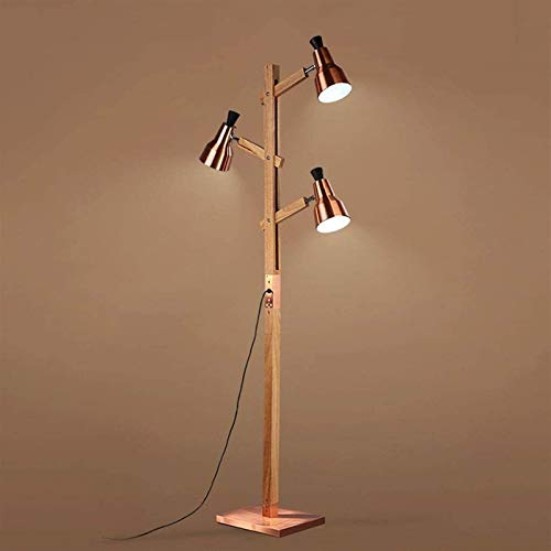 HGDH Wall lamp ceiling bedroom lamp Retro Water Pipe Wood Floor Lamp With 3 Lampshades,Industrial Wind Art Bedside Lamp For Reading Living Room Bedroom Study AA+