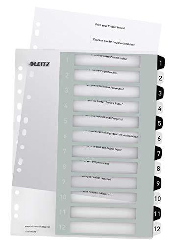 Leitz Register für A4, PC-beschriftbares Deckblatt und 12 Trennblätter, Taben mit Zahlenaufdruck 1-12, Überbreite, Weiß/Schwarz, Polypropylen, WOW, 12160000