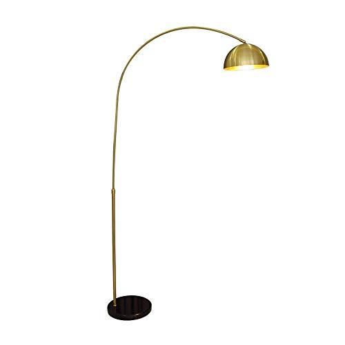 MLMQ Bogenlampe Golden, Retro Stehlampe mit Kupfer Lampenschirm, Schwarz Marmorfuß, Fußschalter und E27 Buchse, Metall Standlampe für Wohnzimmer, Büro, Lesezimmer, Höhenverstellbar 130-160cm