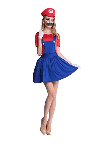 thematys Super Mario Luigi Gorra + Vestido + Barba + Guantes - Conjunto de Vestuario para Mujer Carnaval y Cosplay (M, Talla 160-165cm)