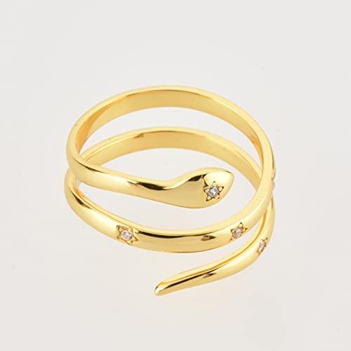 LOKILOKI Plata De Ley 925 Estrella De Oro Circón Cz Anillos De Serpiente Anillos Ajustables Joyería De Mujer De Tamaño Variable