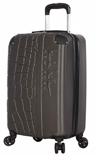 Nicole Miller New York Luggage Collection - 20 Inch Carry On (ABS+PC) Hardside Suitcase - Lightweight Designer Bag with 8-Rolling Spinner Wheels (Wild Side Charcoal)