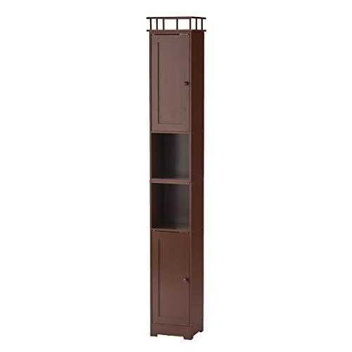 The Lakeside Collection Slim Bathroom Storage Cabinet - Space Saving Organizer - Walnut