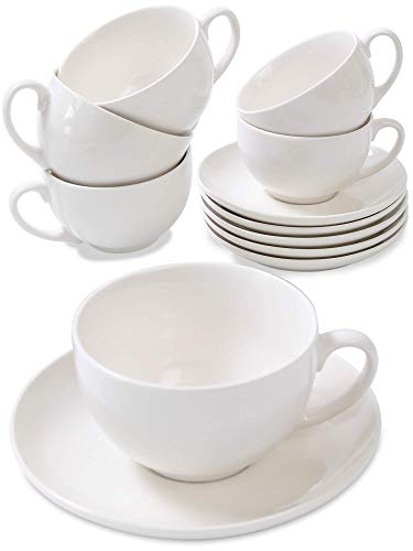 Set di 6 Tazze Bianche da Cappuccino con Piattini - 180ml - Ceramica - Con Confezione Regalo - Mantiene Caldo il Caffe