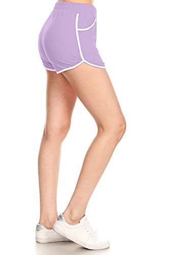 Leggings Depot RSB128-LAVENDER-M Solid Fashion Shorts w/Pockets, Medium