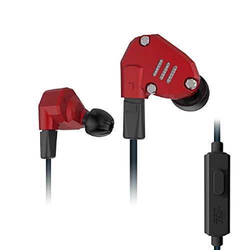 WishLotus KZ ZS6 2DD+2BA - Auriculares híbridos para conductor, monitor HiFi DJ de bajos extra, cable desmontable con cancelación de ruido (ZS6 rojo con micrófono)