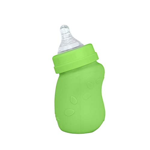 Best Bargain green sprouts Baby Bottle Made from Glass with Silicone Cover | Angled Neck + Vented Ni...