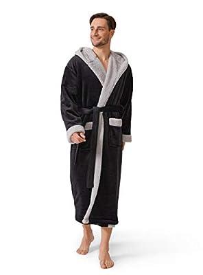 DAVID ARCHY Men's Soft Fleece Plush Robe Full Length Long Bathrobe