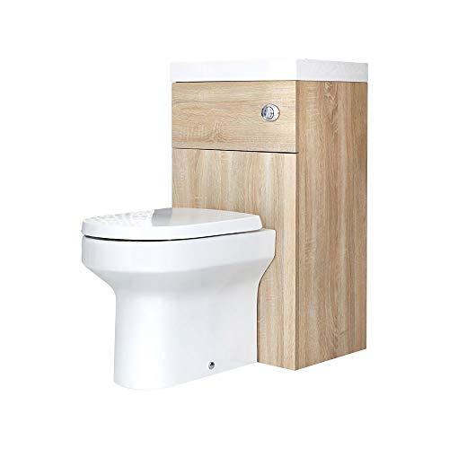 Hudson Reed Cluo - Toilet Met Ingebouwde Wastafel Eikenhout Effect 50cm x 89cm