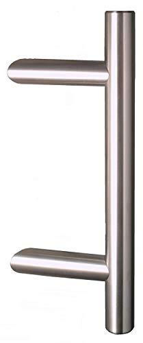 Hiska Haustürgriff Edelstahl, Länge 320mm Achsmaß 200mm, Stossgriff, Stangengriff mit 45° Haltern, SG-210.01, Made in Germany