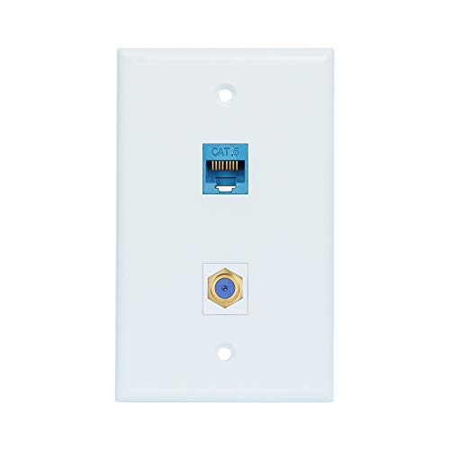 Coax Ethernet Wall Plate Female to Female - Ethernet and Coax Cat6 RJ45 Wall Plate in White - 1 Ethernet Port + 1 TV Coax Cable/F-Type Connector