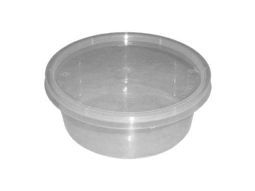 Lot de 50 récipients ronds en plastique transparent pour micro-ondes ou four 283,5 g