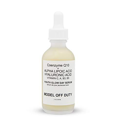 Model off Duty Beauty Youth Glow Day Serum | Made w/Natural & Organic Ingredients Coenzyme Q10, Hyaluronic Acid, DMAE, Niacinamide, Vitamin A, C, B3, B5 | Anti Aging, Antioxidant, Brighten Glow -1 oz