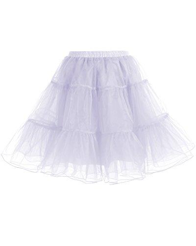 Gardenwed Kurz Damenrock 1950 Petticoat Reifrock Unterrock Tutu Minirock Ballett Tanzkleid Underskirt Crinoline für Rockabilly Kleid White M