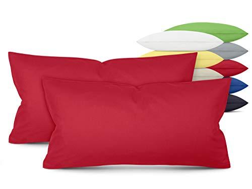 Unifarbene Kissenbezüge im Doppelpack - in 8 Farben und 3 Größen - Moderne Wohndekoration in dezentem Design, ca. 40 x 80 cm, rot