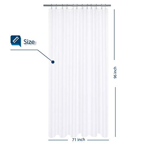 XLong Fabric Shower Curtain with 96 inch Height, Waffle Weave, Hotel Luxury Spa, 230 GSM Heavyweight, Water Repellent, Machine Washable, White Pique Pattern Decorative Bathroom Curtain