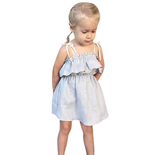 wyxhkj Bébé Robe De Princesse Toddler Baby Baby Girl Clothes Princess Sleeveless Ruffled Sling Dress Child Girls Solid Color Shoulder Strap Skirt Pleated Skirt (90)