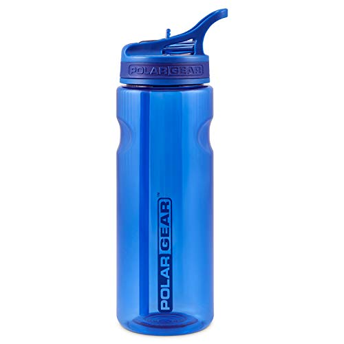 Polar Gear Aqua Grip Bottle – BPA-Free Reusable Sports Water Bottle & Foldable Straw – Drink at the Gym, in the Car & Outdoors – Clear Tritan Plastic & Dishwasher Safe – Navy Blue, 650ml