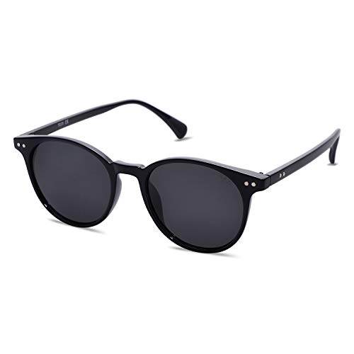 SOJOS Damen Herren Sonnenbrille Polarisiert Brille UV400 Schutz Vintage Runde Kleine für Schmales Gesicht SJ2113 mit Schwarzer Rahmen/Graues Linse
