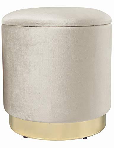 Zedelmaier Zylindrischer Samthocker Sitzhocker mit Stauraum rund, Ottoman,Polsterhocker kleiner, moderner Design,Fußbank Hocker mit Aufbewahrungsbox,Maximale Belastung 150kg,Größe 37x37x41.5cm (Beige)