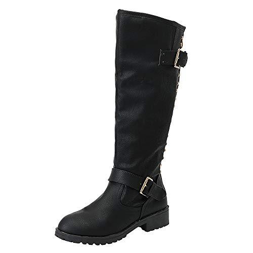 ALIKEEY Bottes Neige Bottes Mollets Larges Bottes Hautes Hiver Femmes Dames Chaussures Rivet Riding Roman Genou Bottes Cowboy Haut Martin Bottes Longues