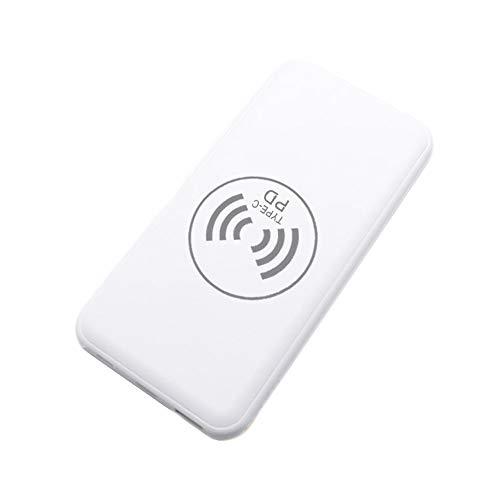 MYYING ELE Chargeur Rapide sans Fil, 10000mAh Portable Batterie Externe Power Bank avec Lampe LED et Double Entrées Compatible pour iPhone XS/XS Max/XR/X/8/8 Plus et Autre Qi Compatible, White