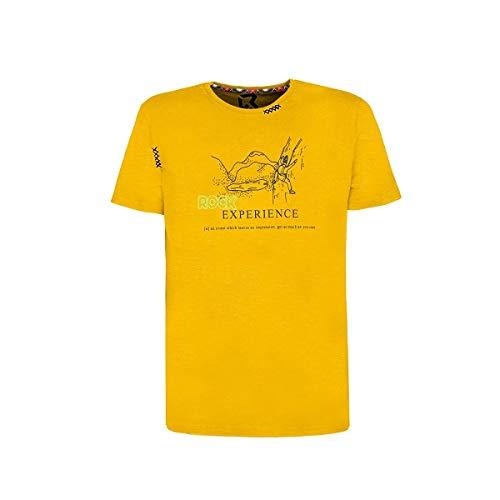 Rock experience - Camiseta deportiva ligera de algodón orgánico con frases motivadoras estampadas amarillo XXL