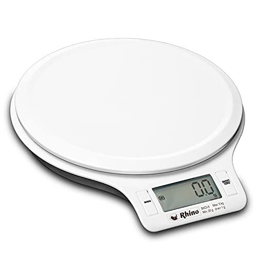 Balança Digital para Cozinha 5 kg. / 1 g. Rhino BACI-5. De Alta Precisão. Calcula o volume em mililitros, onças líquidas, leite, farinha de trigo e óleo vegetal. Pesa em gramas, libras e onças.