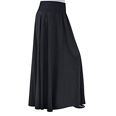 RAINED-Women Elastic Waist Long Skirt Pure Color Pleat Skirt Vintage Loose Maxi Skirt Casual Flowy Dress Ankle Skirt