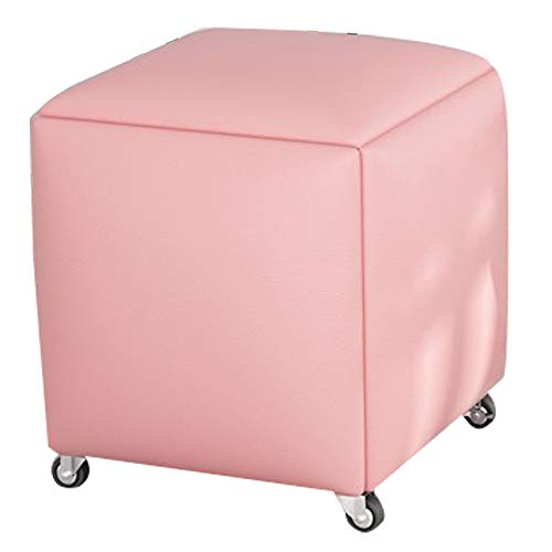 Taburete Multifuncional Con Combinación De Zapatos Que Cambia El Sofá Cube De Rubik Convertido En Cinco Cuero Artificial Adecuado Para Dormitorio, Sala De Estar Y Oficina 40x40x44cm(Color:rosado)