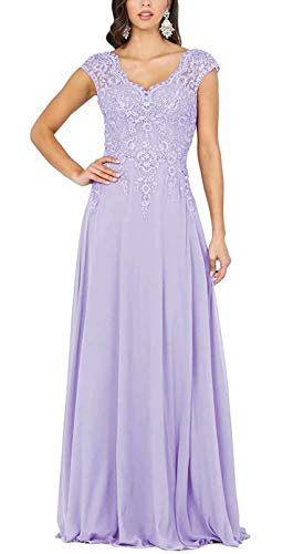 V Neck Mother of The Bride Dresses Cap Sleeve Chiffon Lace Appliques Long Formal Gowns for Women Lavender Size 14
