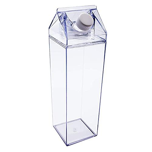 Botellas de Agua de Plástico Transparente de Leche, Botella de leche Reutilizable de Cartón de Leche, para Limonada, Zumo, Bebidas Heladas, 500 ml, para Viajes al Aire Libre