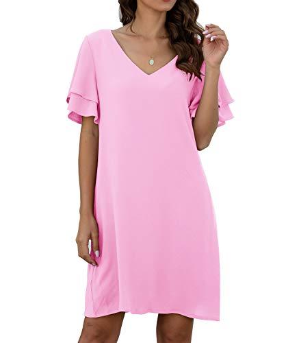 QIXING Women's Summer Casual Loose Mini Dress V-Neck Bell Short Sleeve Shift Dress Pink-XL (Apparel)