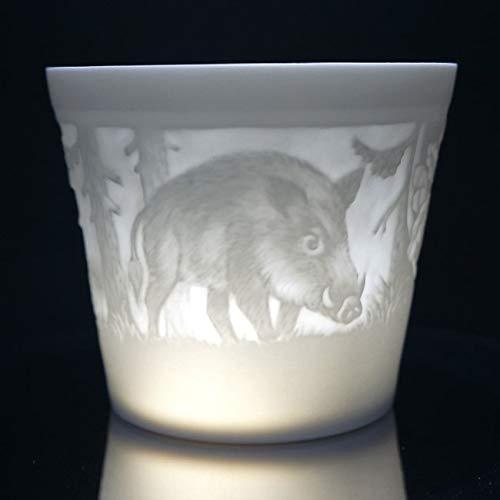Porzellan Windlicht - Jagd, Lithophanie, Teelicht, Tischlicht, feinstes Bisquitporzellan 9 cm