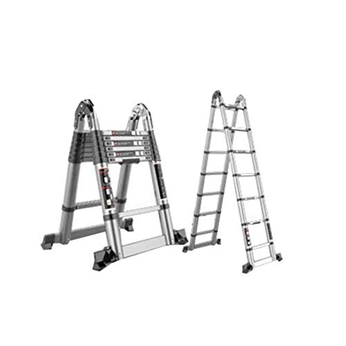 GLJJQMY Escalera Plegable hogar multifunción Engrosamiento telescópico Escalera de ingeniería Espiga Recta Doble Escalera de aleación de Aluminio Bufanda (Size : 2.8m+2.8m)