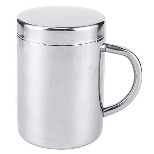 Taza de café Heaveant, taza de té portátil Taza de agua de leche de café de acero inoxidable con tapa Anti-escaldaduras de pared doble para uso en viajes de oficina en el hogar(300ml)