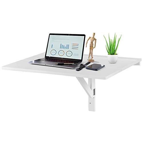 DREAMADE Tavolino a Muro Pieghevole Tavolo da Parete Cucina Tavolo per Computer in Legno Bianco