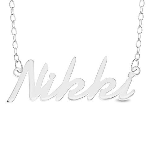 NIKKI Name Necklace 925 Sterling Silver Trace Chain Pendant Gift + Pouch (14)