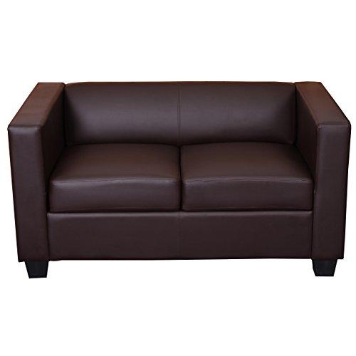 Mendler 2er Sofa Couch Loungesofa Lille - Kunstleder, Coffee