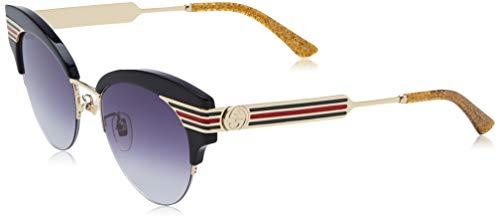 Gucci dames GG0283S-001 zonnebril, zwart (Negro/Dorado/Multicolor Metal), 53.0