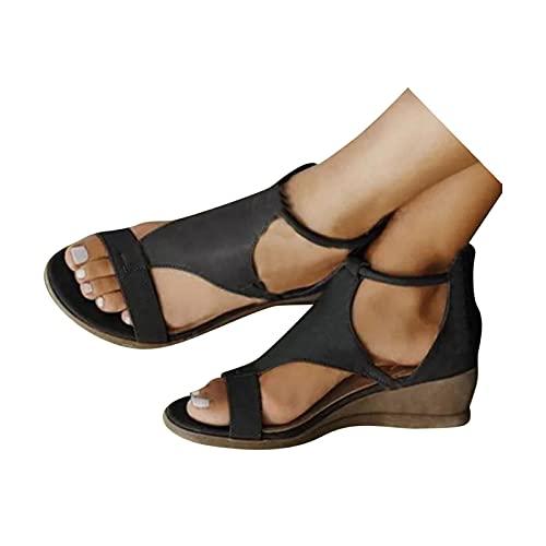 KEYEE Sandals for Women Casual Summer Dressy Breathable Comfort Wedge Platform Open Toe Sandals Walking Shoes Women's Sandals Black
