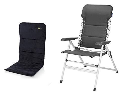 CAMPART TRAVEL Chaise de camping stable en aluminium avec assise douce, hauteur d'assise 50 cm, réglable en 7 positions.