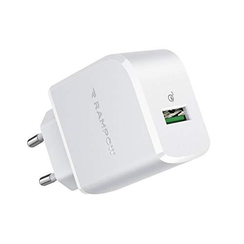 Rampow - Cargador USB de 19,5 W, cargador USB con toma de carga rápida 3.0 para iPhone 11/XR/X/XS/X/8, iPad Pro/Air, Samsung S10/S9/S8, Huawei, Xiaomi, OnePlus, color blanco