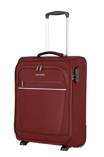 travelite 2-Rad Handgepäck Koffer mit Schloss erfüllt IATA Bordgepäck Maß, Gepäck Serie CABIN: Kompakter Weichgepäck Trolley, 090237-70, 52 cm, 39 Liter, bordeaux (weinrot)
