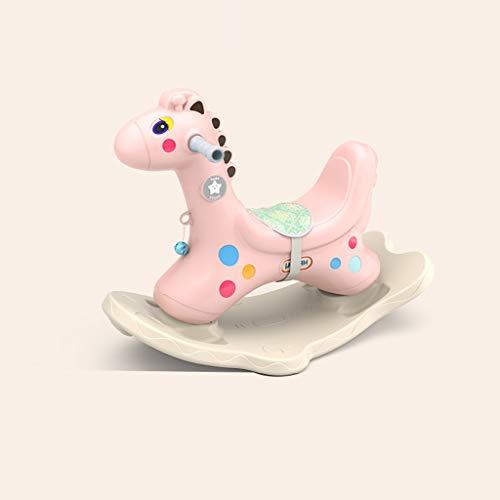 LINGZHIGAN Regalo de Año del bebé del bebé de Troya niños Mecedora Caballo de Juguete de plástico Espesar (Color : Pink)
